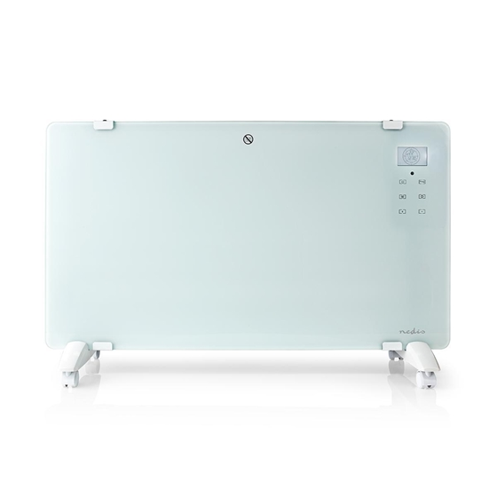 Picture of Termoconvettore a Pannello in Vetro | Termostato | Display LCD | 2 Impostazioni di Calore | Supporto a Parete / Pavimento | 2000 W | Bianco