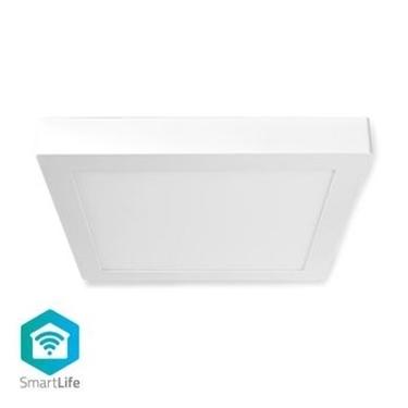 Immagine di Lampada da Soffitto Smart Wi-Fi | Forma Quadrata | 30 x 30 cm | Luce Bianca Calda e Fredda | Colore pieno (RGB) | 1200 lm | 18 W | Design Sottile | Alluminio