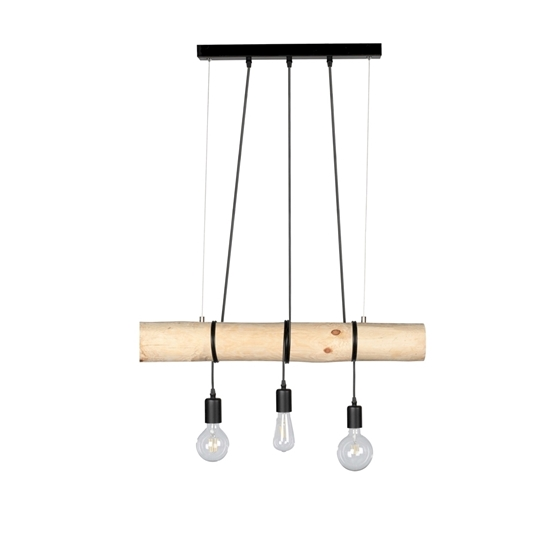 Picture of TRABO SHORT - LAMPADINA - 3XE27 -  Narural Wood/Black