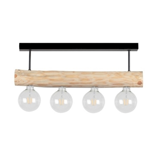 Immagine di TRABO SIMPLE - SOSPENSIONE - corta - 4XE27 -   Black/natural pine