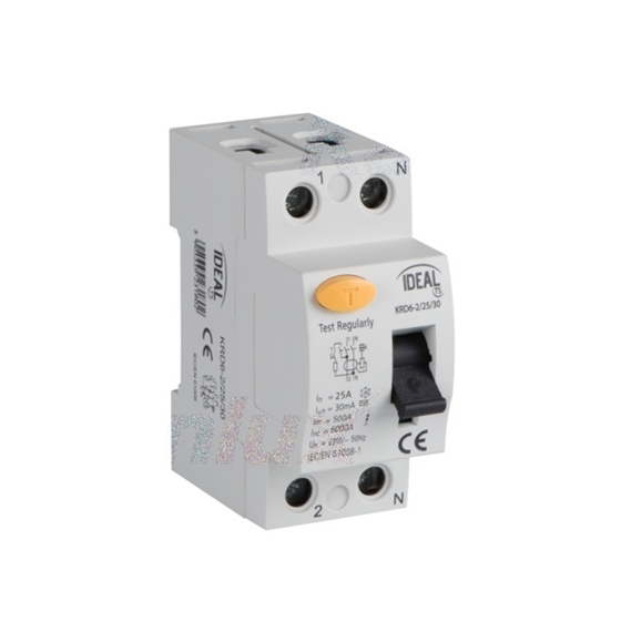 Picture of Interruttore differenziale, 2P KRD6-2 -  Tipo di protezione differenziale AC