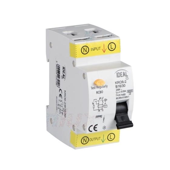 Immagine di Interruttore magnetotermicodifferenziale  KRO6-2 -  Tipo di protezione differenziale AC - PROPRIETA' DI RILASCIO : B