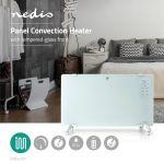 Immagine di Termoconvettore a Pannello in Vetro | Termostato | Display LCD | 2 Impostazioni di Calore | Supporto a Parete / Pavimento | 2000 W | Bianco