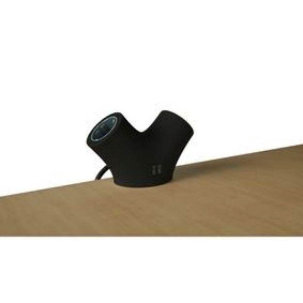 Immagine di PRESA DESIGN CON ANCORAGGIO DA TAVOLO - presa di estensione 2-Way 1.4 m Nero - 2 x Schuko / 2 x USB - NERO