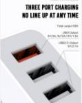 Immagine di Caricatore da muro XO L72 bianco 3USB QC + 2,1A