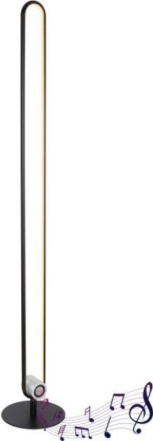 Immagine di Piantana alluminio nero opaco, 1xLED - TOPPOLE - 3000K - CON ALTOPARLANTE BLUETOOTH - 5W - 8.5*125