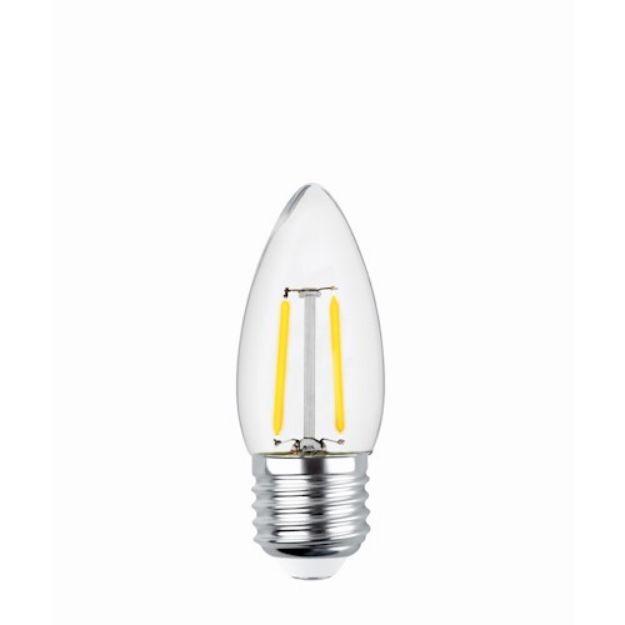 Immagine di LED Bulb Filament E27 C35 2W 230V 2700K 250lm COG - VETRO TRASPARENTE