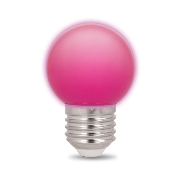 Immagine di Lampadina LED - E27 - G45 - 2W - 230V - Rosa - 5 pezzi