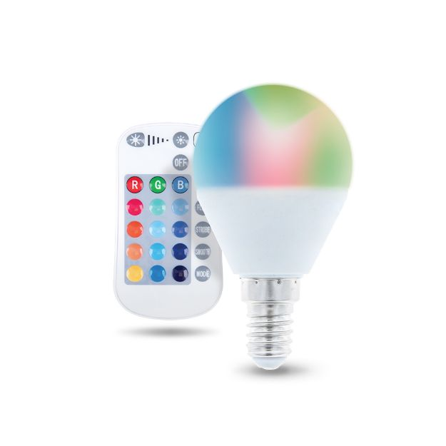 Immagine di LED Bulb E14 G45 RGB + White 5W + RC