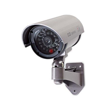 Immagine di Videocamera di sicurezza fittizia  Proiettile   IP44   Alimentazione a batteria   Per esternI   Incluso supporto a parete   Grigio - IP44