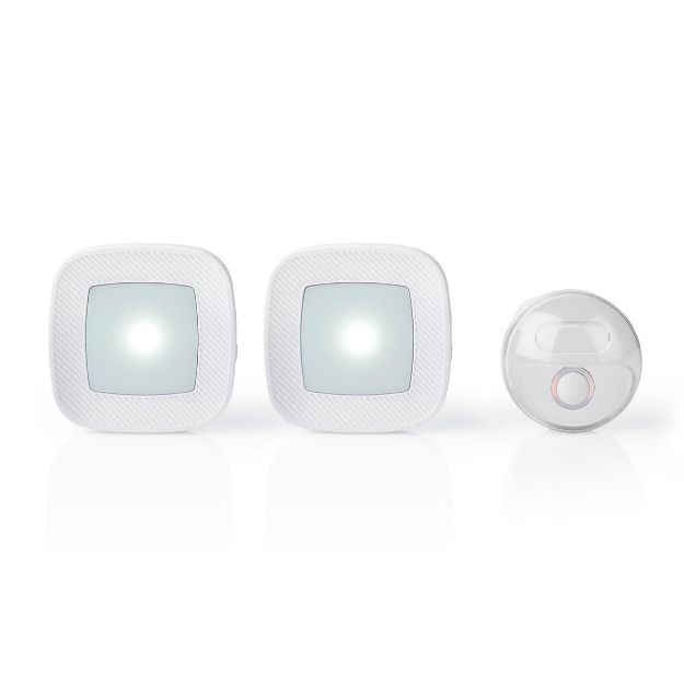 Immagine di Set campanello senza fili  Alimentazione da rete | 80 dB | Intervallo segnale: 300 m | IP44 | Volume regolabile | 36 Melodie | 2 Ricevitori | Bianco