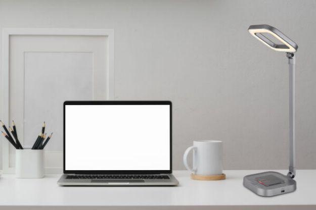 Immagine di MONACO Lampada da tavolo grigio alluminio, 1xLED - 8W -  RGB LED 1W - CCT