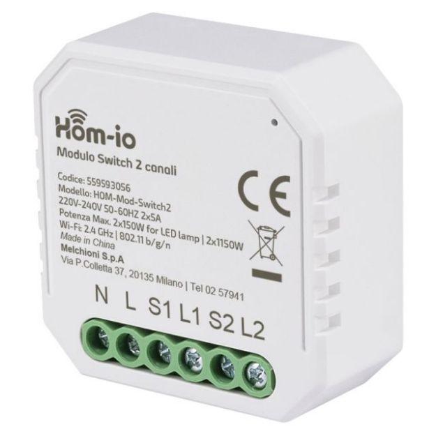 Immagine di  Modulo Dual Switch da incasso 10A 2 Canali WiFi HOM-iO